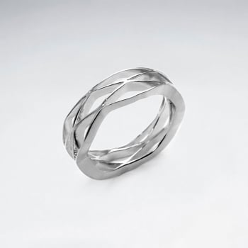 925 Silver Openwork X-Style Pattern Ring