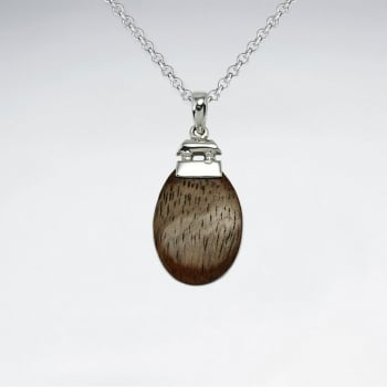 925 Silver Oval Wood Pendant