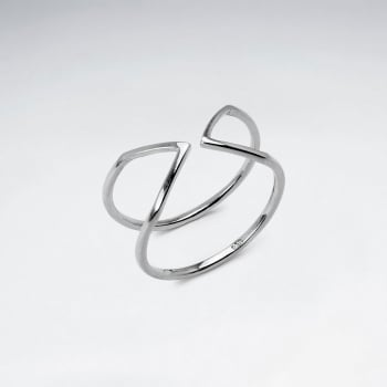 "925 Silver Pointed ""Arrow"" Open Cuff Ring"