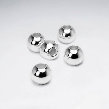 925 Silver Round Smooth Ball Beads Pack Of 5 Pieces