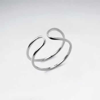925 Silver Rounded Open Cuff Ring