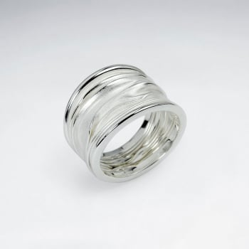 925 Silver Sand Blasted & High Polished Wrinkle Ring