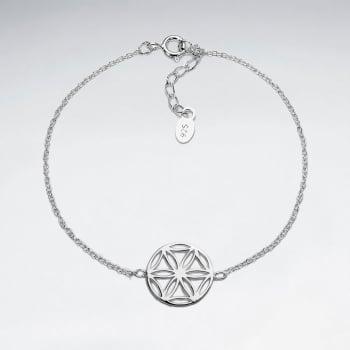 925 Silver Sand Dollar Inspired Openwork Bracelet