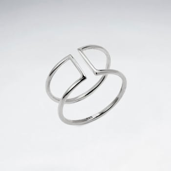 925 Silver Squared Open Cuff Ring