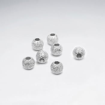 925 Silver Star Dust Glimmer Ball Beads Pack Of 10 Pieces