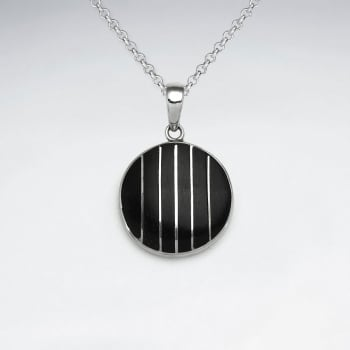 925 Silver Striped Circle Wood Pendant
