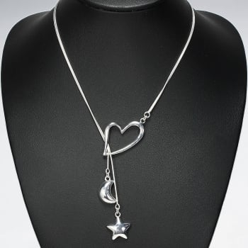 925 Silver Toggle Strung Hearts, Stars And Moon Drape Necklace