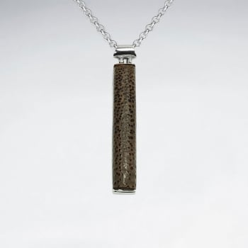 925 Silver Vertical Wood Pendant