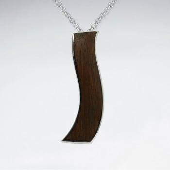 925 Silver Wavy Wood Pendant