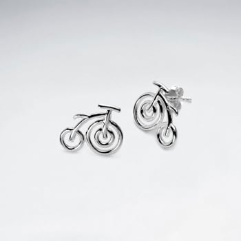 925 Sterling Silver Bicycle Stud Earrings