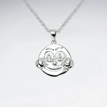 925 Sterling Silver Cubic Zirconia Face Pendant