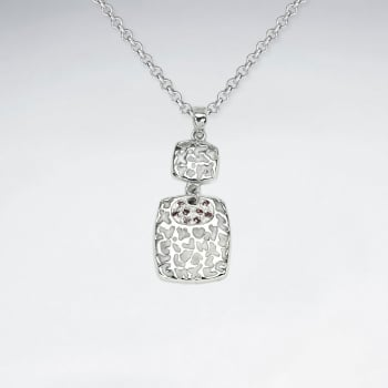 925 Sterling Silver Cubic Zirconia Filigree Double Drop Pendant