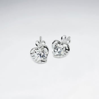 925 Sterling Silver Cubic Zirconia Heart Stud Earrings