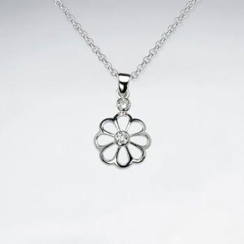 925 Sterling Silver Cubic Zirconia Openwork Flower Pendant