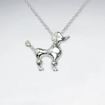 925 Sterling Silver Cubic Zirconia Poodle Dog Pendant
