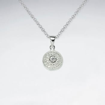925 Sterling Silver Cubic Zirconia Round Pendant