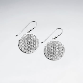 925 Sterling Silver CZ Round Pattern Earrings