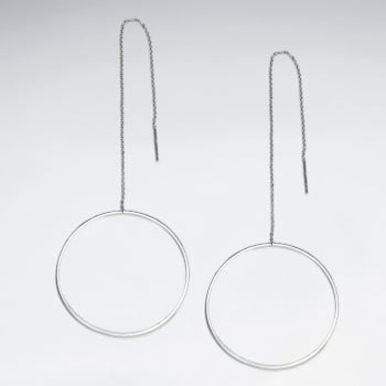 925 Sterling Silver Openwork Circle Hoop Dangle Earrings