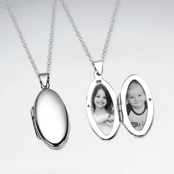 .925 Sterling Silver Oval Locket
