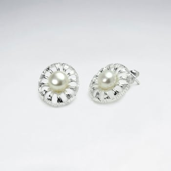 925 Sterling Silver Pearl Centered Flower Stud Earrings