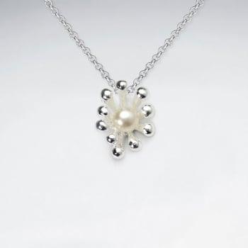 925 Sterling Silver Pearl Nestled Ball Burst Pendant
