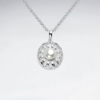 925 Sterling Silver Round Flower Pearl Pendant