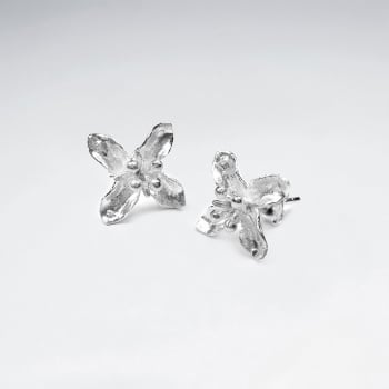 925 Sterling Silver Star Flower Matte Stud Earrings