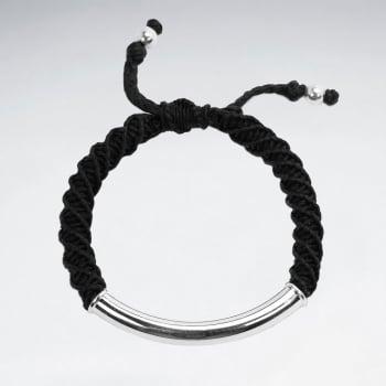 925 Sterling Silver Tube Macrame Bracelet