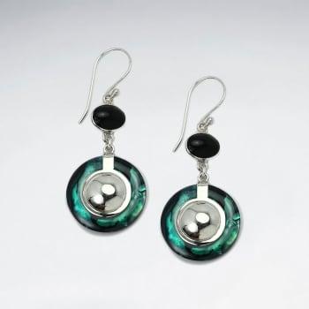 Abalone & Black Stone Bold Statement Circle Drop Dangle Earrings