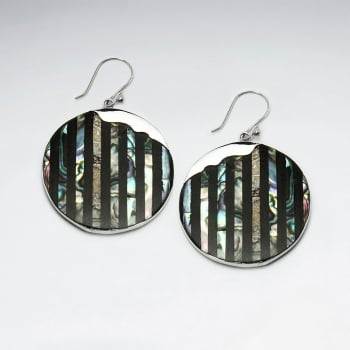 Abalone Circles Tiger Stripe Dangle Earrings