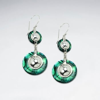 Abalone Gradual Circled Double Drop Dangle Earrings