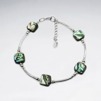 Abalone Square Stone & Sterling Silver Bead Bracelet