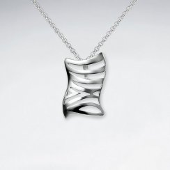 Abstract Rectangle Wavy Lines Cutout Silver Pendant