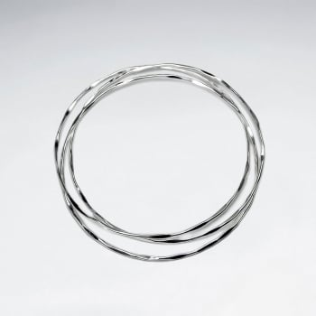 Abstract Sterling Silver Stackable Bangle