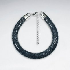 "Adjustable 7"" Blue Stingray Leather Bracelet  With Silver Closing"