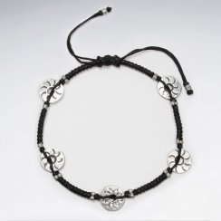 Adjustable Black Macrame Waxed Cotton Anklet With Antique Open Circle Silver Charm