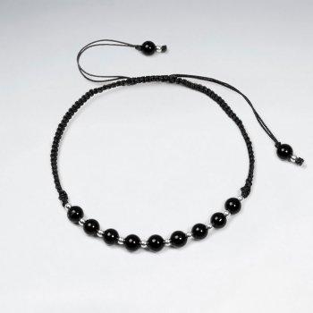 Adjustable Black Stone and Alternating Silver Charm Waxed Cotton Macrame Bracelet