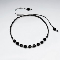 Adjustable Black Stone and Alternating Silver Charm Waxed Cotton Macrame Bracelet
