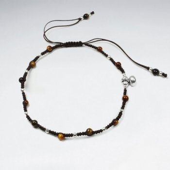 Adjustable Brown Nylon  Macrame Bracelet With Silver Charms and Alternating Tiger Eye