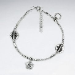 Adjustable Hill Tribe Silver Beaded Charm Bracelet