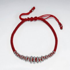 Adjustable Macrame Waxed Cotton Bracelet With Silver Beads