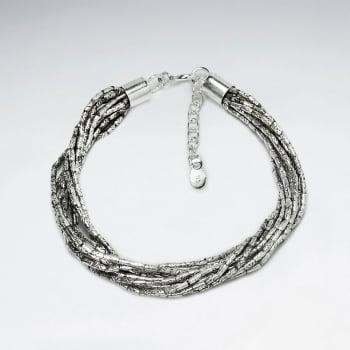 Adjustable Sterling Silver Multi- Strand Wrap Bracelet