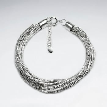 Adjustable Thai Hand Made Silver Bracelet With Multi- Strand Beaded Wrap