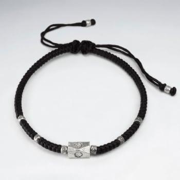 Adjustable Waxed Cotton Block Bead Bracelet