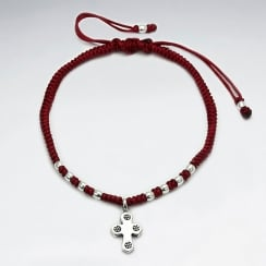 Adjustable Waxed Cotton Macrame Bracelet With Pattern Silver Beads and Cross Accent Charm