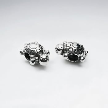 Adorable Oxidized Silver Turtle Bead Pack Of 2 Pieces