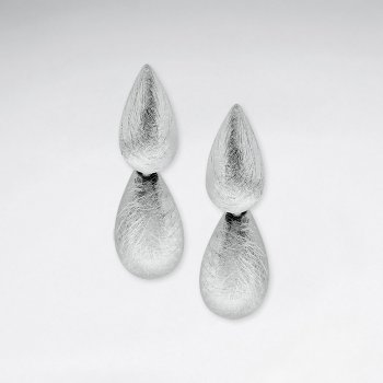 Amazing Brushed Double Connected Teardrop Dangle Stud Earrings