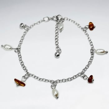 Amber & Pearl Sterling Silver Charm Bracelet
