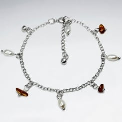 Amber & Pearl Sterling Silver Charm Bracelet