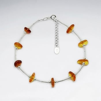 Amber Stone Beads Sterling Silver Bracelet